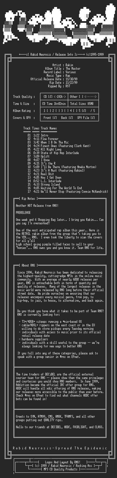 NFO file for Rakim-The_Master_(Retail)-1999-RNS