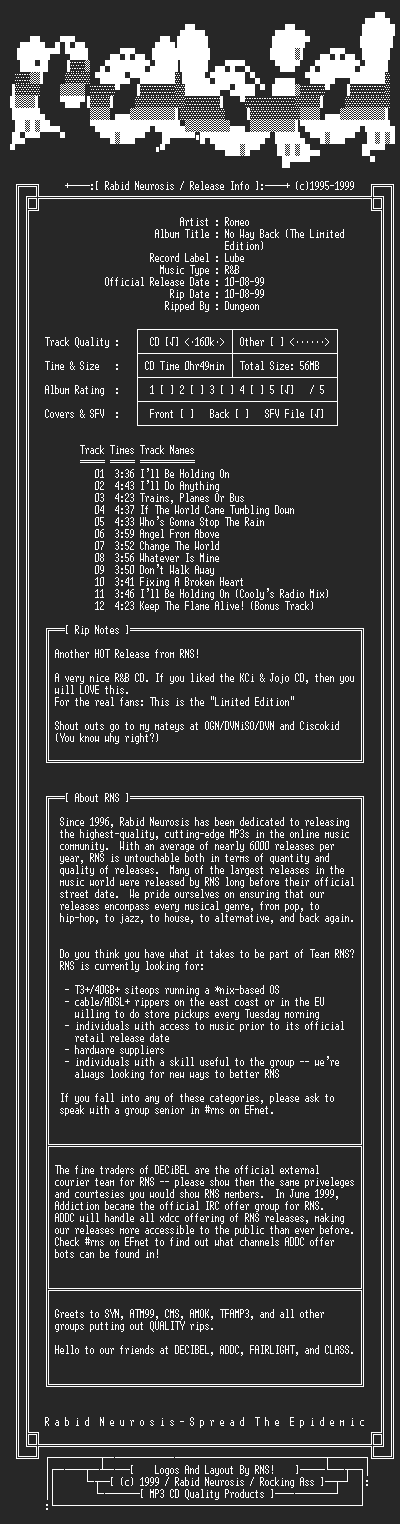 NFO file for Romeo-No_Way_Back_(The_Limited_Edition)-1999-RNS