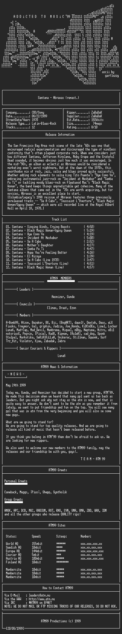 NFO file for Santana_-_Abraxas_-_(1970)_(remast.)-ATM99