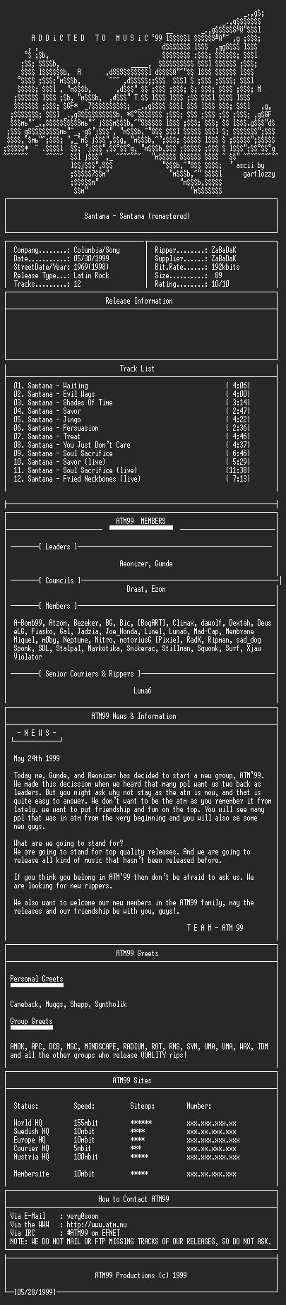NFO file for Santana_-_Santana_-_(1969)_(Remast.)-ATM99