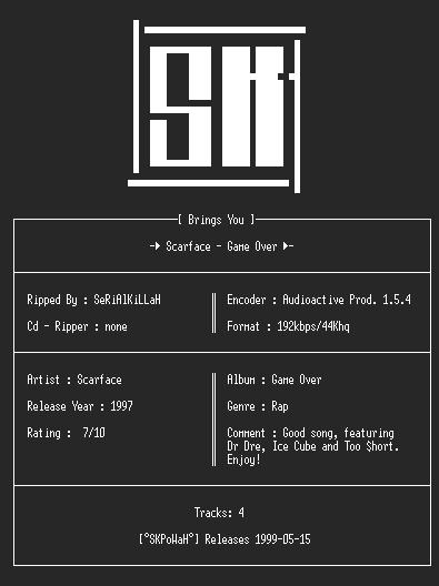 NFO file for Scarface_-_Game_Over(Singel)(192kbps)-SKPoWaH