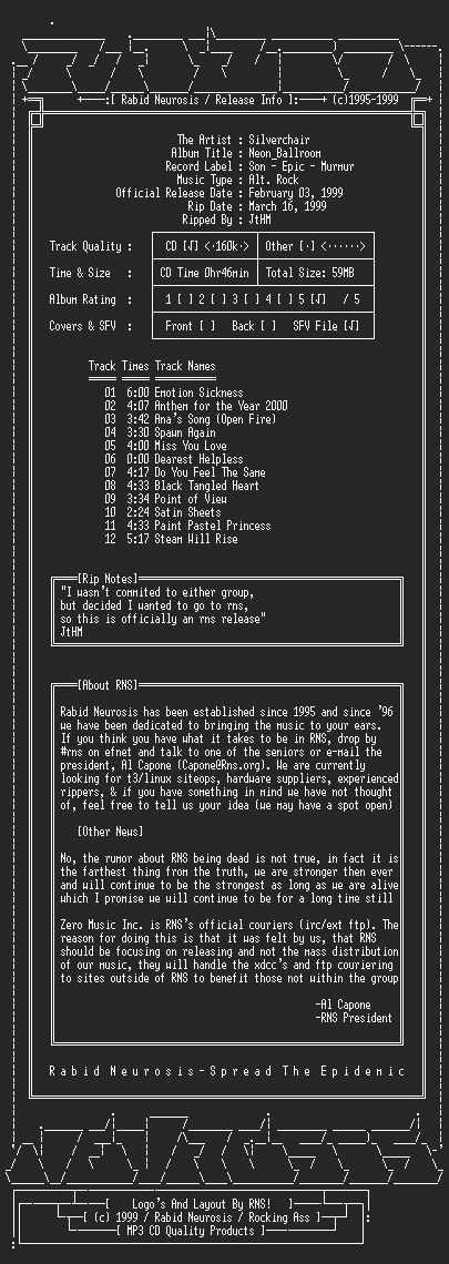 NFO file for Silverchair-Neon_Ballroom-1999-RNS