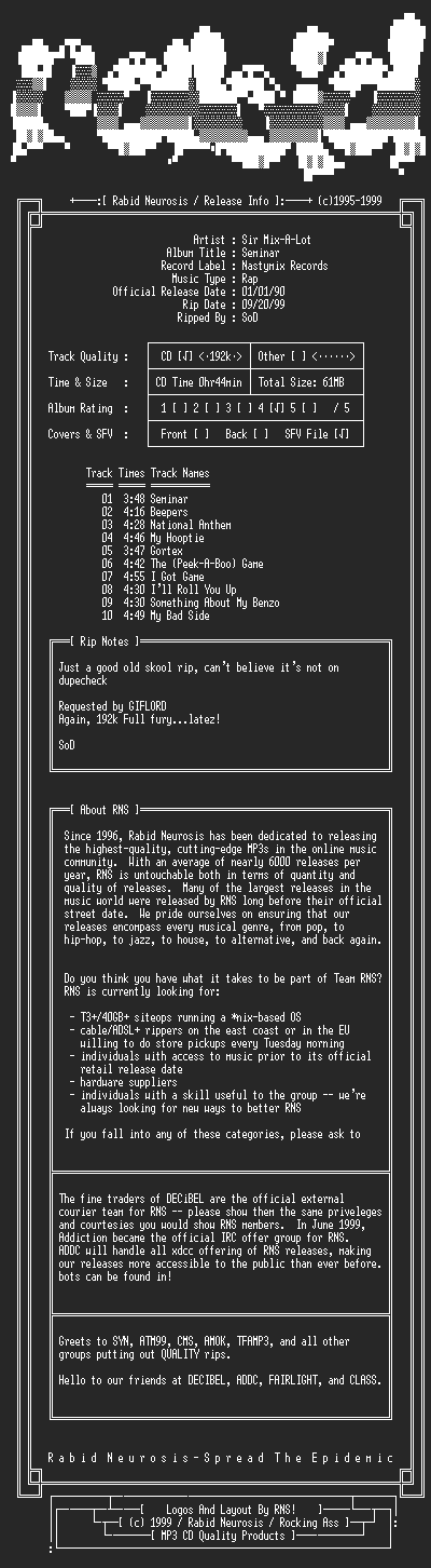 NFO file for Sir_Mix-A-Lot-Seminar-1990-RNS