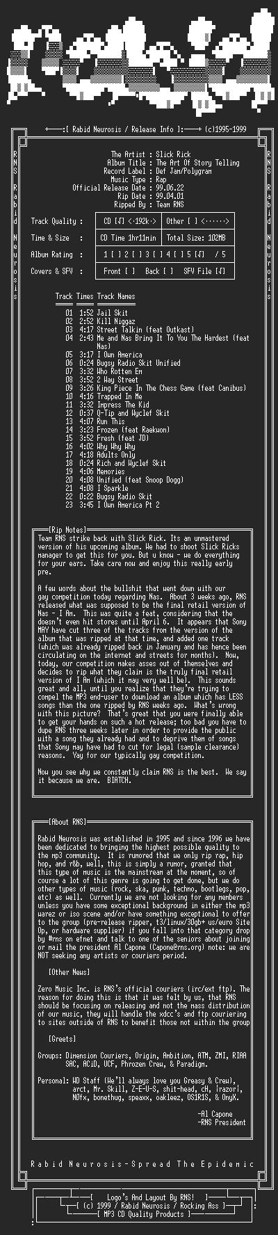 NFO file for Slick_Rick-The_Art_Of_Story_Telling-1999-RNS