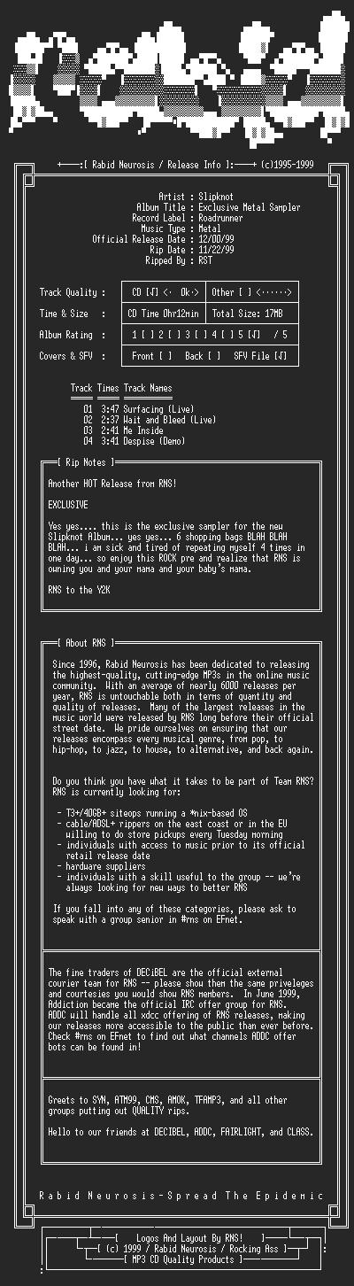 NFO file for Slipknot-Exclusive_Metal_Sampler-1999-RNS