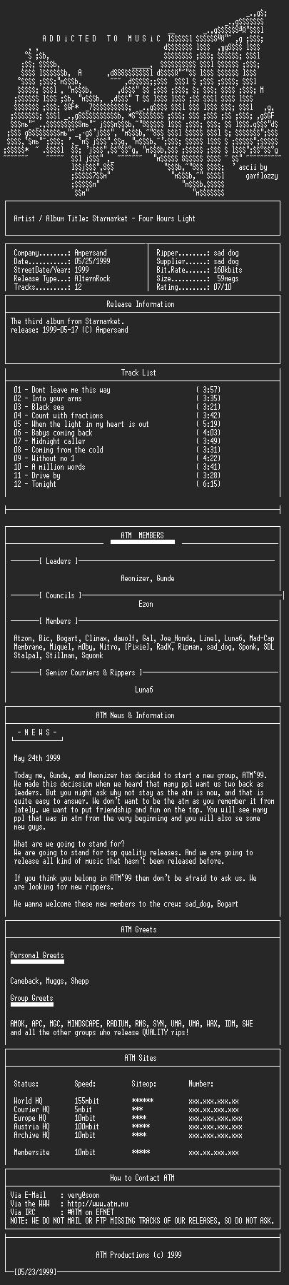 NFO file for Starmarket_-_Four_Hours_Light_(1999)-ATM99