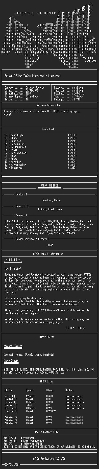 NFO file for Starmarket_-_Starmarket_(1995)-ATM99