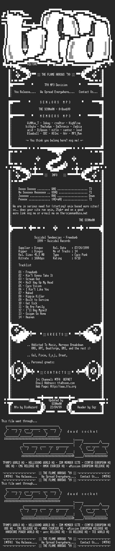 NFO file for Suicidal_Tendencies-Freedumb-1999-TFAMP3