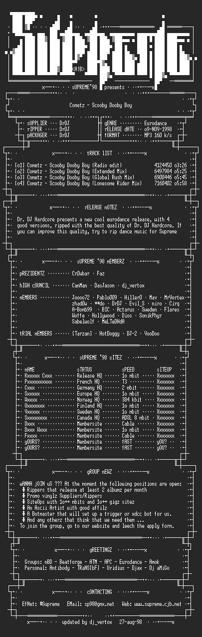 NFO file for Cometz_-_Scooby_Dooby_Boy_Single_SP