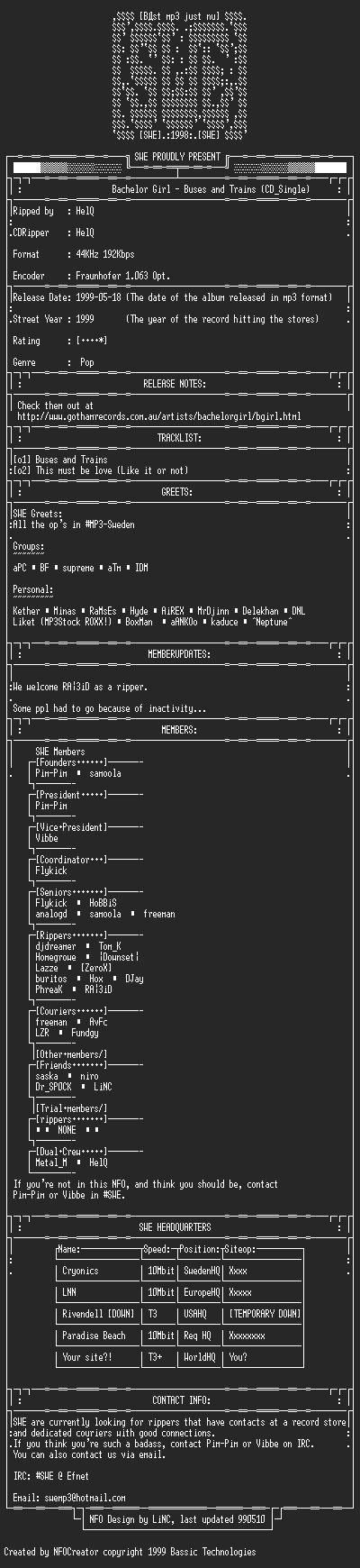 NFO file for Bachelor_Girl_-_Buses_and_Trains_(CD_Single)_-_DualCrew