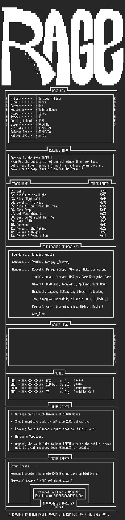 NFO file for VA-Swisha_House-Barre-1998-RAGEMP3