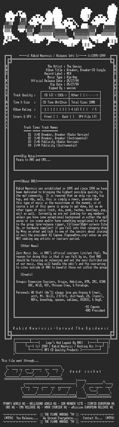 NFO file for The_Genius-Breaker_Breaker-CD_Single-1999-RNS