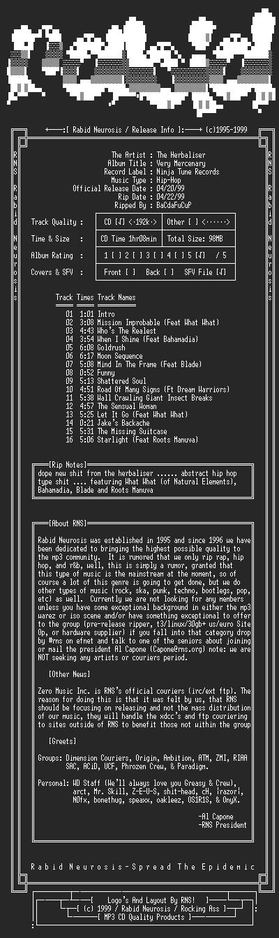NFO file for The_Herbaliser-Very_Mercenary-1999-RNS
