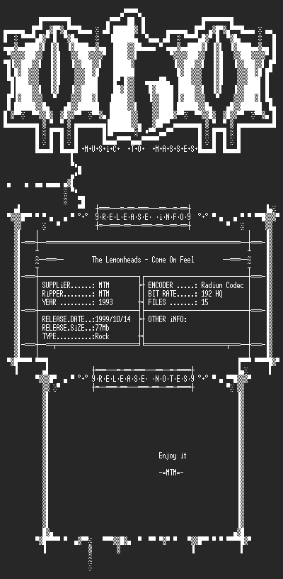 NFO file for The_Lemonheads_-_Come_On_Feel_(1993)_-_MTM