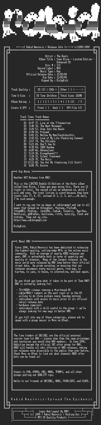 NFO file for The_Roots-Come_Alive_-_Limited_Edition_-_Enhanced_Cd-2CD-1999-RNS