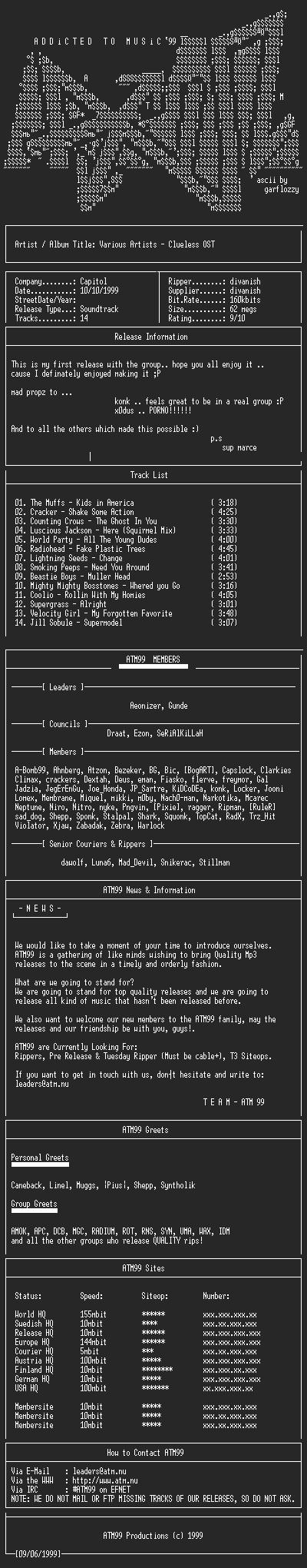 NFO file for VA_-_Clueless_OST_-_(1995)-ATM99