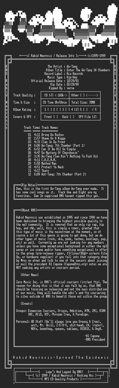 NFO file for Wu-Tang-Enter_The_Wu-Tang_36_Chambers-1991-RNS