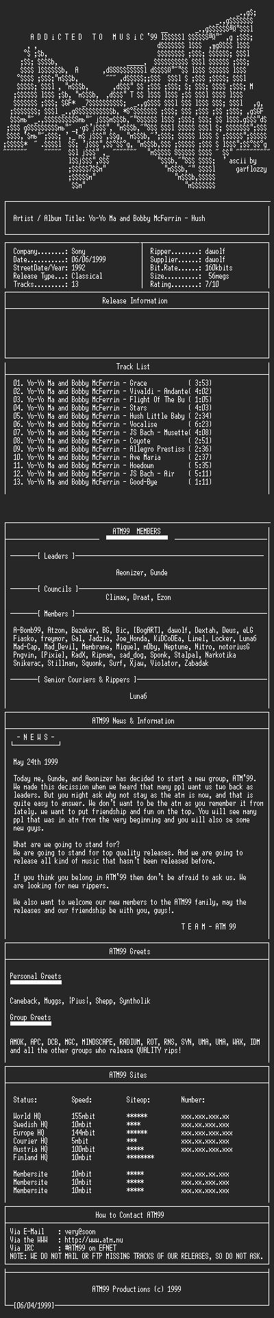 NFO file for Yo-Yo_Ma_and_Bobby_McFerrin_-_Hush_-_(1992)-ATM99
